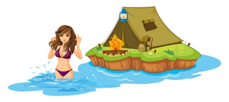 teenage girl bikini: Illustration of a sexy girl swimming near the island with a camping tent on a white background