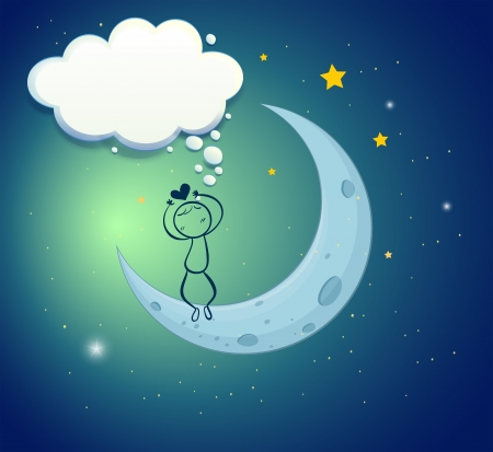 inlove: Illustration of a boy at the moon with an empty thought