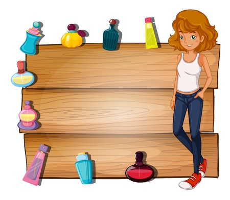 white pants: Illustration of a girl and the different perfumes surrounding the empty signboard on a white background Illustration