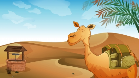 humps: Illustration of a camel with a well at the desert