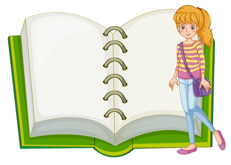 Illustration of a girl and a blank notebook on a white background Stock Vector - 20729739