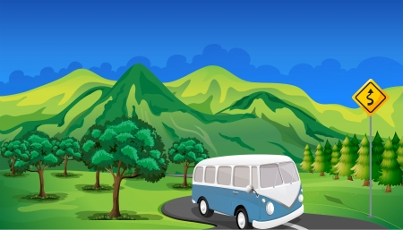 mountain road: Illustration of a bus travelling Illustration