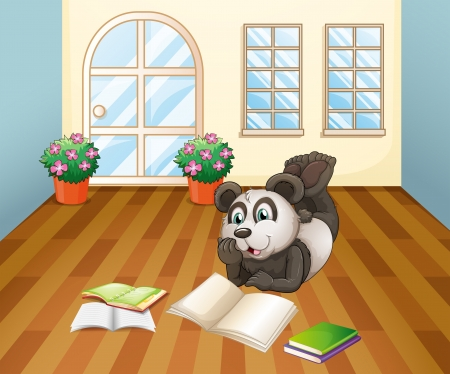 black giant: Illustration of a panda reading inside the house