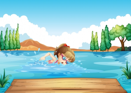 diving board: Illustration of a girl swimming at the sea