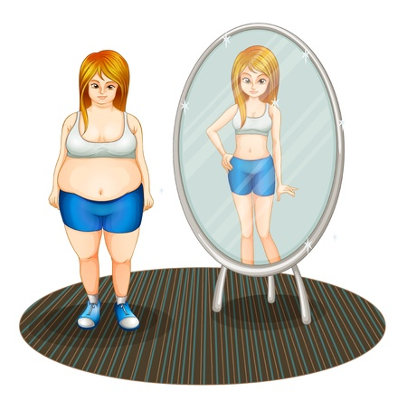 comparisons: Illustration of a fat girl and her skinny reflection on a white background