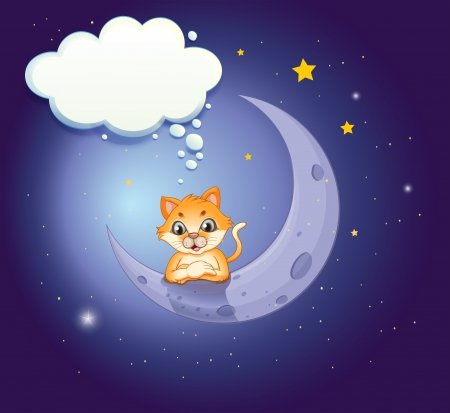 Illustration of a crescent moon with a cat and an empty callout Stock Vector - 20729749