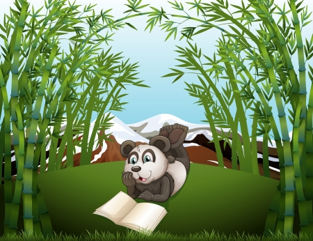 Illustration of a panda reading at the hilltop with bamboos Vector