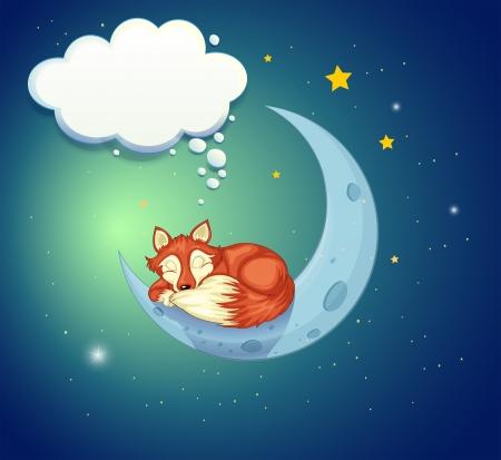 Illustration of a fox sleeping above the moon Stock Vector - 20727505
