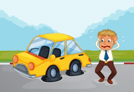 sweaty: Illustration of a sweaty man beside his car with flat tires