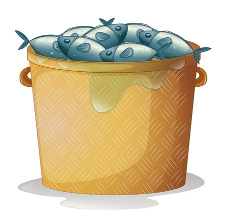 bucket of water: Illustration of a bucket of fish on a white background