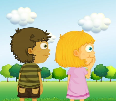 bulding: Illustration of a boy and a girl in front of the trees