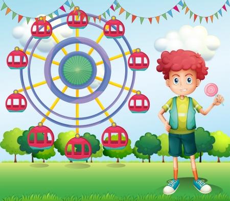 flaglets: Illustration of a boy holding a lollipop beside a ferris wheel