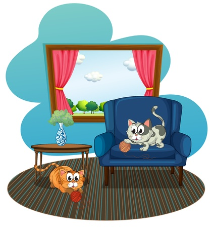 overlooking: Illustration of the two cats playing with the balls of yarn inside the house on a white background  Illustration