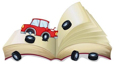 libro de cuentos: Ilustraci�n de un libro de cuentos abierto con un coche roto en un fondo blanco
