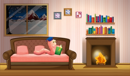 nonfiction: Illustration of a worm reading a book near the fireplace