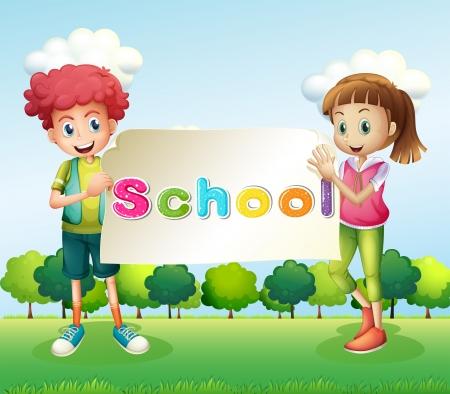Illustration des deux adolescents tenant un panneau Banque d'images - 20727515
