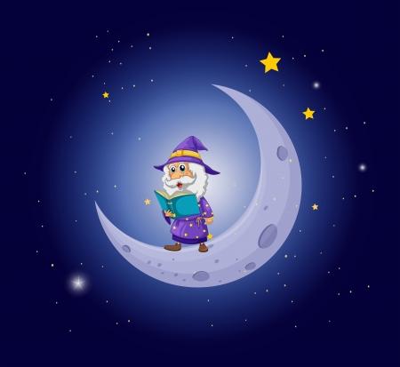 bonsoir: Illustration d'un magicien tenant un livre pr�s de la lune Illustration