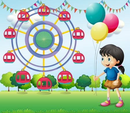 Illustration of a girl holding balloons at the carnival Vector