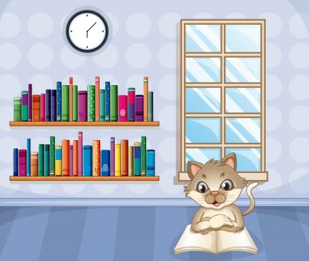 Illustration of a cat reading a book inside the house Vector
