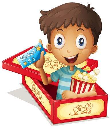 Illustration of a boy inside the box holding a popcorn and a ticket on a white background  Vector