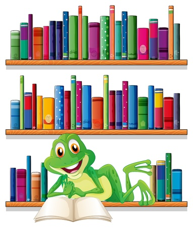 Illustration of a smiling frog reading a book on a white background Illustration