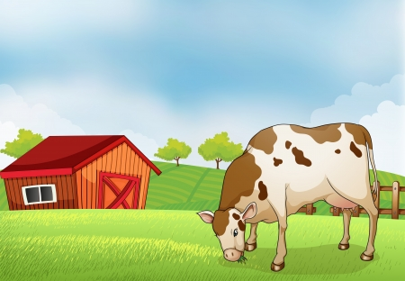 milking: Illustration of a cow in the farm Illustration