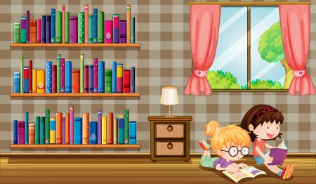 Illustration of the two girls reading books beside the bookshelves Vector