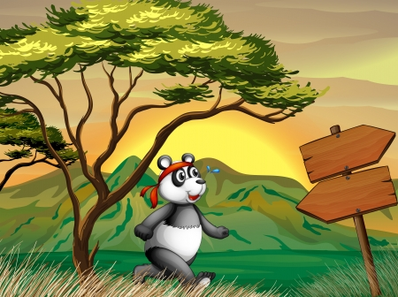 Illustration of a panda following the wooden arrowboard Vector