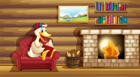 wooden house: Illustration of a duck reading a book near the fireplace Illustration