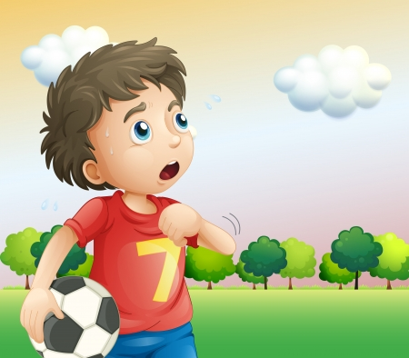 boy ball: Illustration of a boy holding a soccer ball wearing a red shirt Illustration