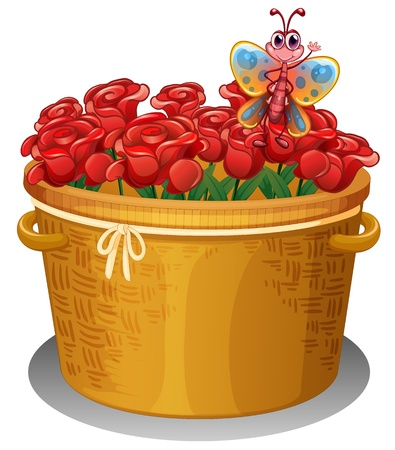 Illustration of a basket of roses with a butterfly on a white background  Vector
