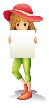Illustration of a girl wearing a hat holding an empty signage on a white background Stock Vector - 20729644