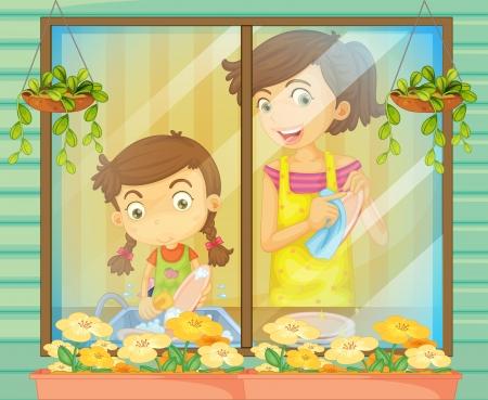 お皿を洗う彼女の母を助ける子供のイラスト