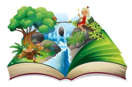 Ilustración de un libro de cuentos con una imagen de la naturaleza y un hada en un fondo blanco Ilustración de vector