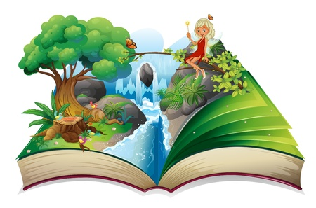 lectura: Ilustración de un libro de cuentos con una imagen de la naturaleza y un hada en un fondo blanco