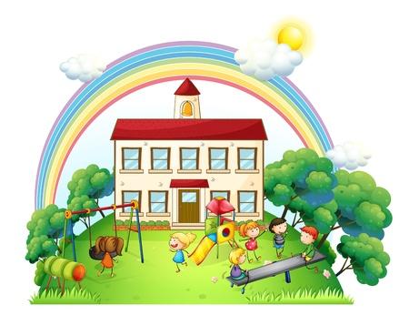 niños en area de juegos: Ilustración de los niños jugando en el patio en un fondo blanco