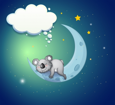 Illustratie van een koala boven de maan Stock Illustratie
