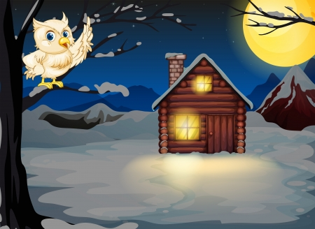 Illustration of an owl at the branch of a tree near the lighted house Vector