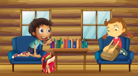 Illustration of a boy and a girl with their schoolbags inside the house Stock Vector - 20727539
