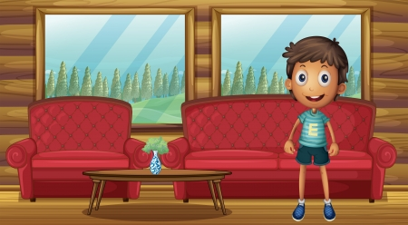 bench alone: Illustration of a boy boy standing inside the house