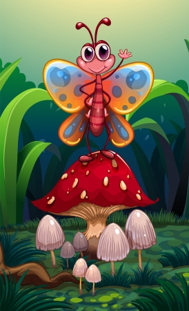 Illustration of a butterfly standing above the big red mushroom Vector