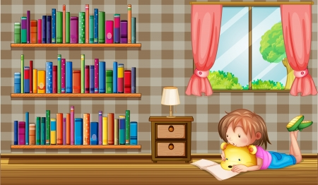 Illustration of a girl reading a book near a window with a pink curtain Stock Vector - 20729661