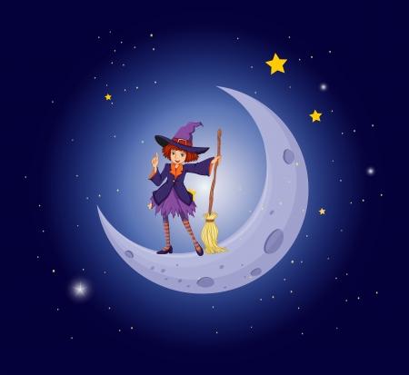 buonanotte: Illustrazione di una bella strega vicino alla luna