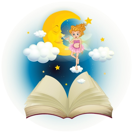 read book: Illustration of an open book with a cute fairy and a sleeping moon on a white background