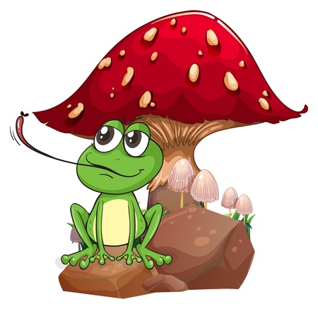 giant mushroom: Illustration of a frog catching a fly near the giant mushroom on a white background