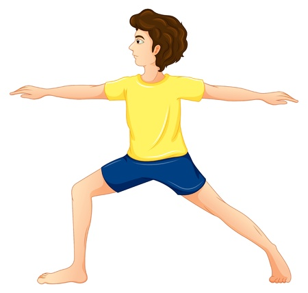 Illustration of a man wearing a yellow tshirt performing yoga on a white background  Stock Vector - 20729675