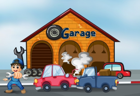 Illustration of the two cars bumping in front of the garage Stock Vector - 20727566