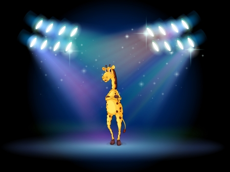Illustration of a giraffe standing in the middle of the stage