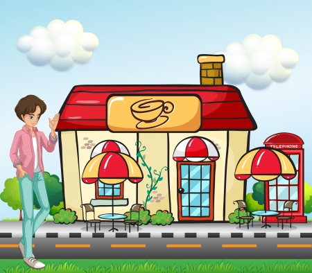 center table: Illustration of a boy standing in front of the coffee shop  Illustration