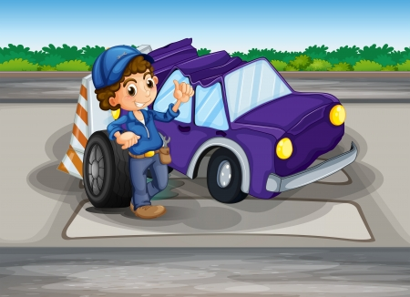 Illustration of a pedestrian lane with a broken car and a young boy Stock Vector - 20729680